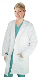 Twill labcoat ladies full sleeve plastic buttons 3 pockets solid pleated (48 perc cotton 52 perc polyester) in 36 38  40  42 inch  lengths