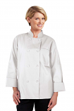 Twill Women's Full Sleeve Chef Coat With 1 Chest pocket and 1 Sleeve Pocket - Button Front Closure (48 perc cotton 52 perc polyester)