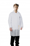 Disposable lab coat unisex 3 pocket full sleeve with front plastic snap buttons