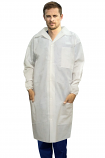 Disposable lab coat unisex 3 pocket full sleeve with elastic closer and front plastic snap buttons