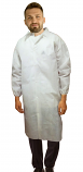 Disposable lab coat unisex full sleeve with elastic closer without pocket and front plastic snap buttons