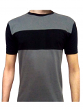 Unisex round neck solid t-shirt-half-sleeves 100 perc cotton in 2 Contrast color Grey and Black
